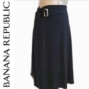 BR Black Buckle Waist Wrap Skirt S